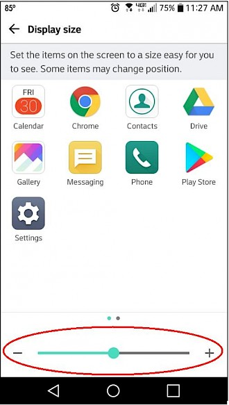 Screenshot of phone with icon size setting
